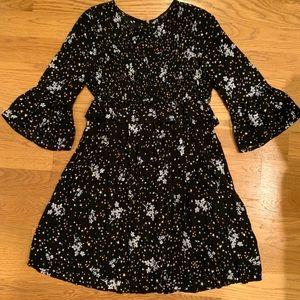 Zara Black Floral Smocked Dress